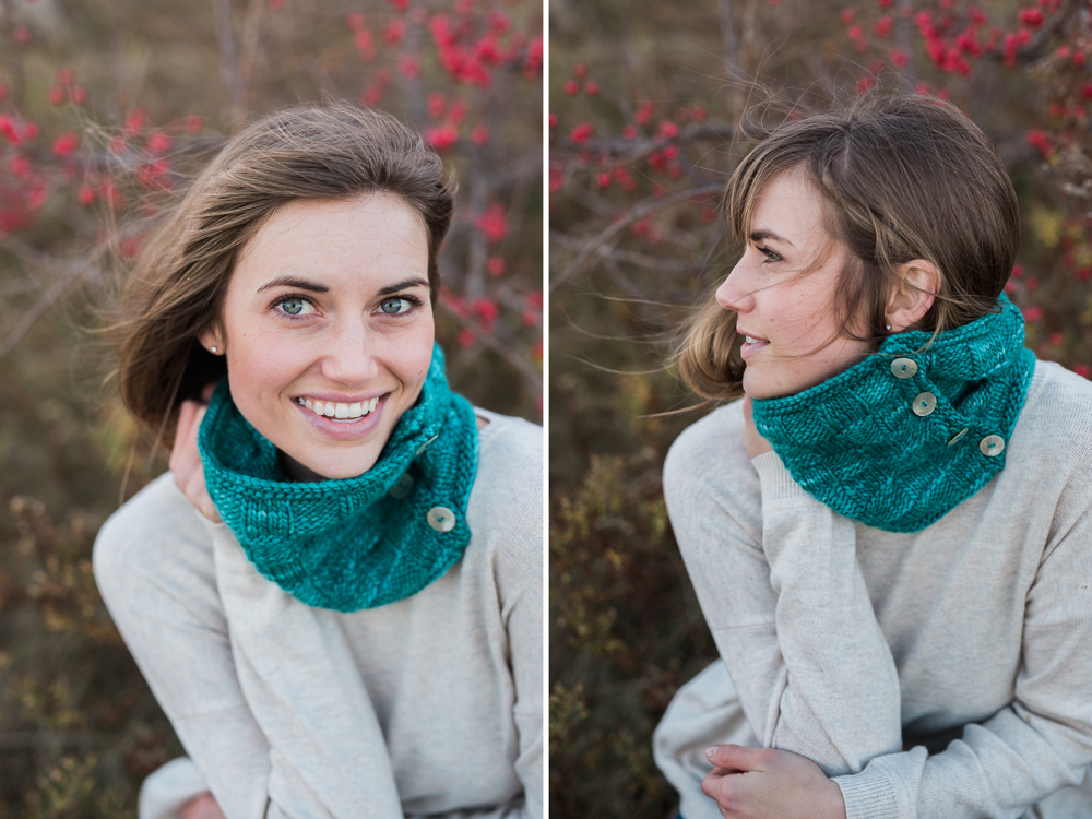 green knit neck warmer on model with red berries in south portland maine