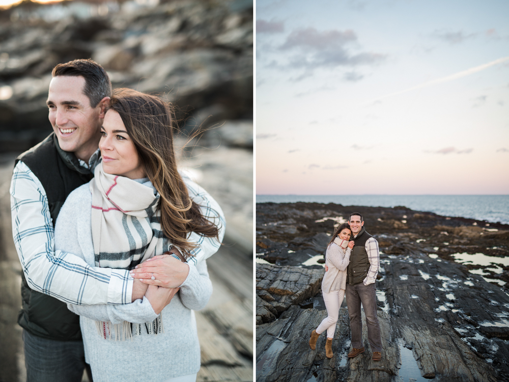 engagement shoot at two lights park at sunset
