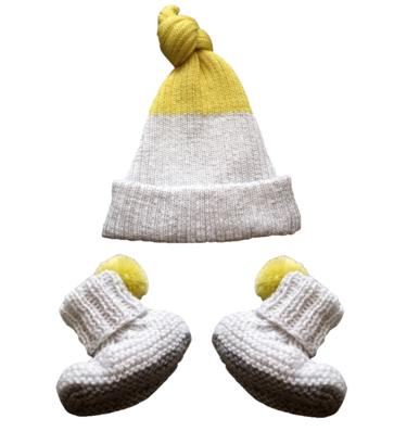 Petite Albion - Exclusive Light Grey & Yellow Baby Hat & Booties Set Bubblechops Hampstead Mums