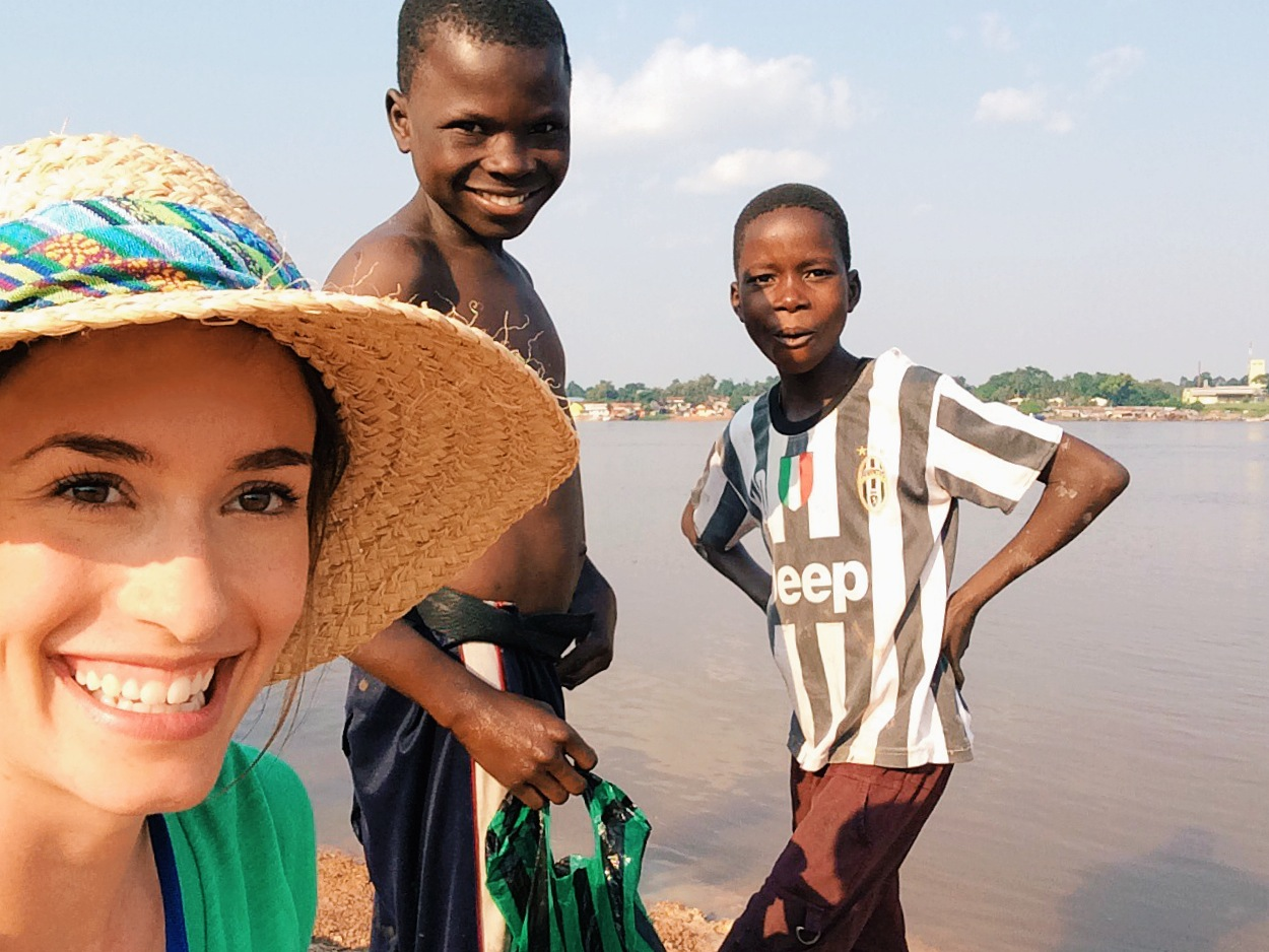 Myself with two Congolese boys, in Bandundu, DRC, Africa.