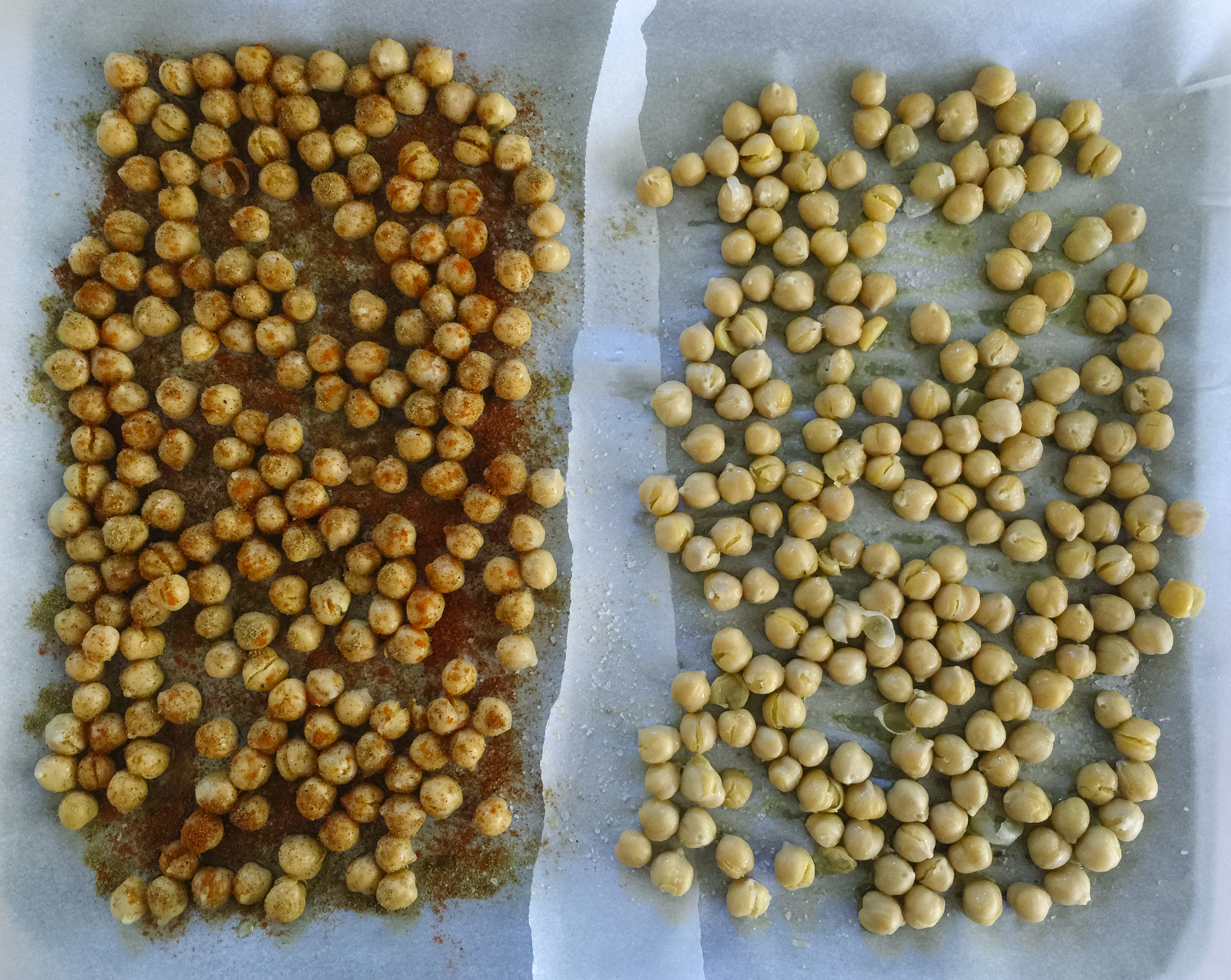 Spicy Roasted Chickpeas on the left; Salt & Vinegar Chickpeas on the right.