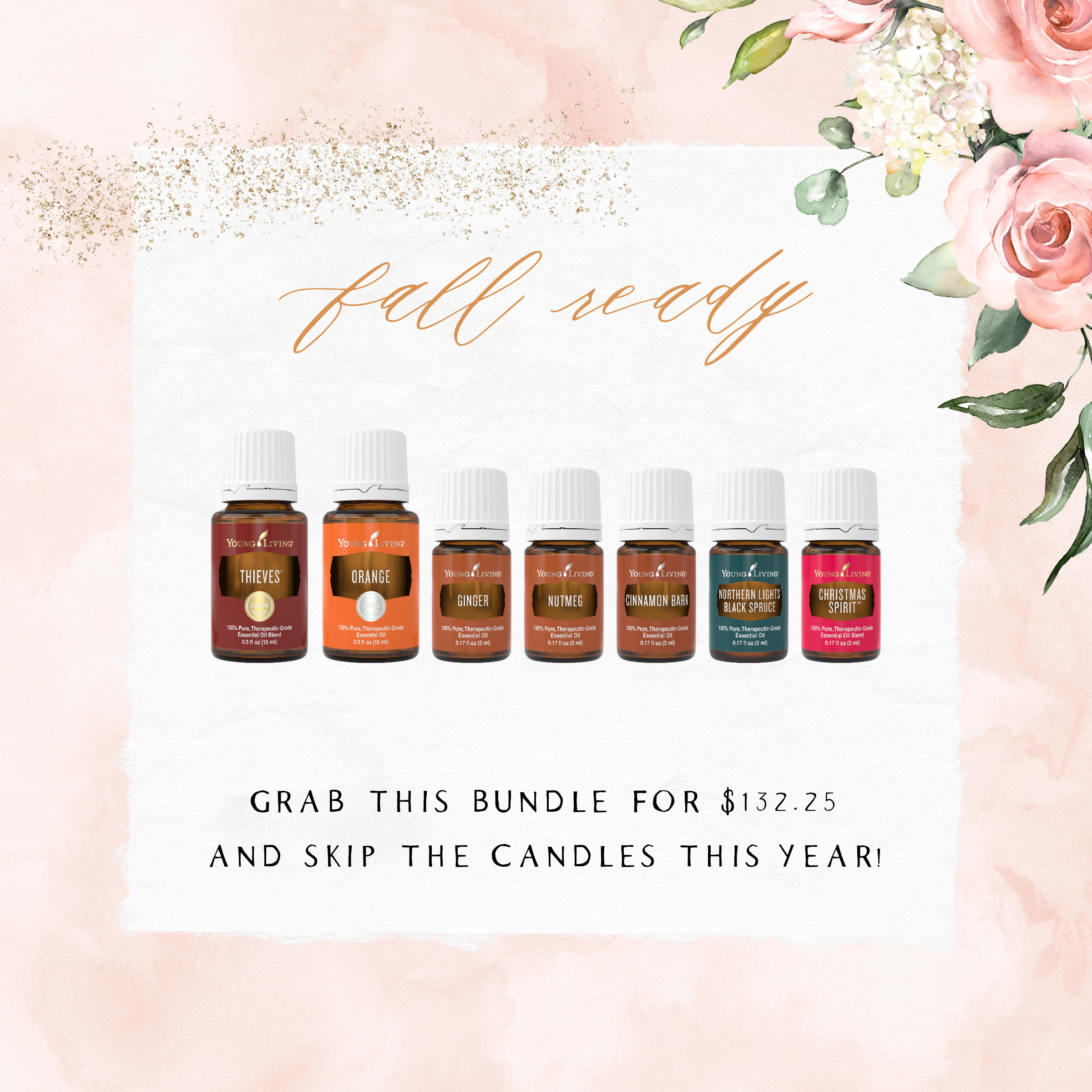 fall ready - Grab this bundle of fall oils for only $132.25!Thieves, Orange, Ginger, Nutmeg, Cinnamon Bark, Northern Lights Black Spruce, and Christmas Spirit are all absolute favorites for our diffuser in the cool months!