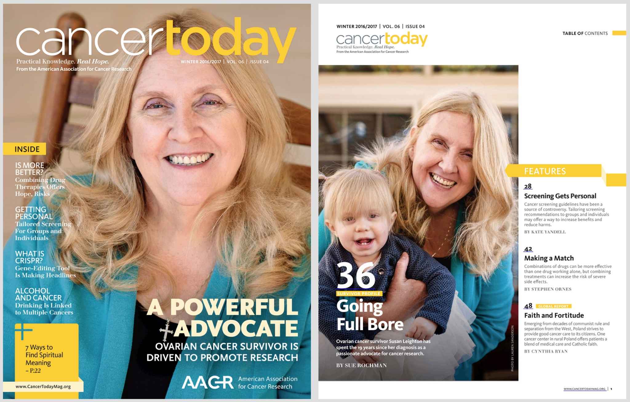 Cancer Today Magazine,National Syndication - www.cancertodaymag.orgPublished quarterly by the American Association for Cancer Research, Cancer Today is the authoritative resource for cancer patients, survivors, family, and friends.I was contracted by Bates Creative out of Washington DC to photograph a local cancer survivor and her family, for a cover and feature story on their Winter 2016/2017 issue. With a short turnaround time for the issue, I delivered a 60-image contact sheet the afternoon of the session, and 8 retouched images the next day.