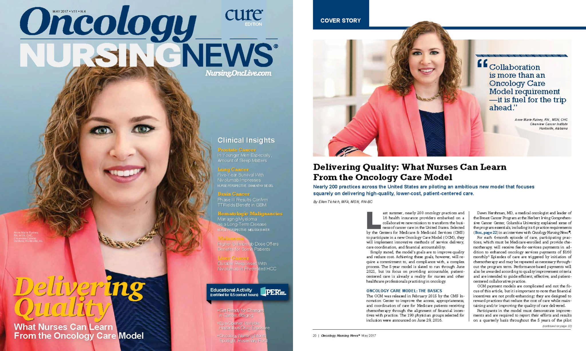 Oncology Nursing News,National Syndication - www.oncnursingnews.comThe Oncology Nursing News website and magazine provide the latest news and clinical insights for oncology nursing professionals, plus live meeting coverage, video interviews, and blog posts from your peers.I worked with ONN to schedule and shoot the subject of their May 2017 cover story, at Huntsville Clearview Cancer Institute. ONN only needed 1-2 images for the feature, but I was able to provide them with a variety and over 20 shots to choose from.
