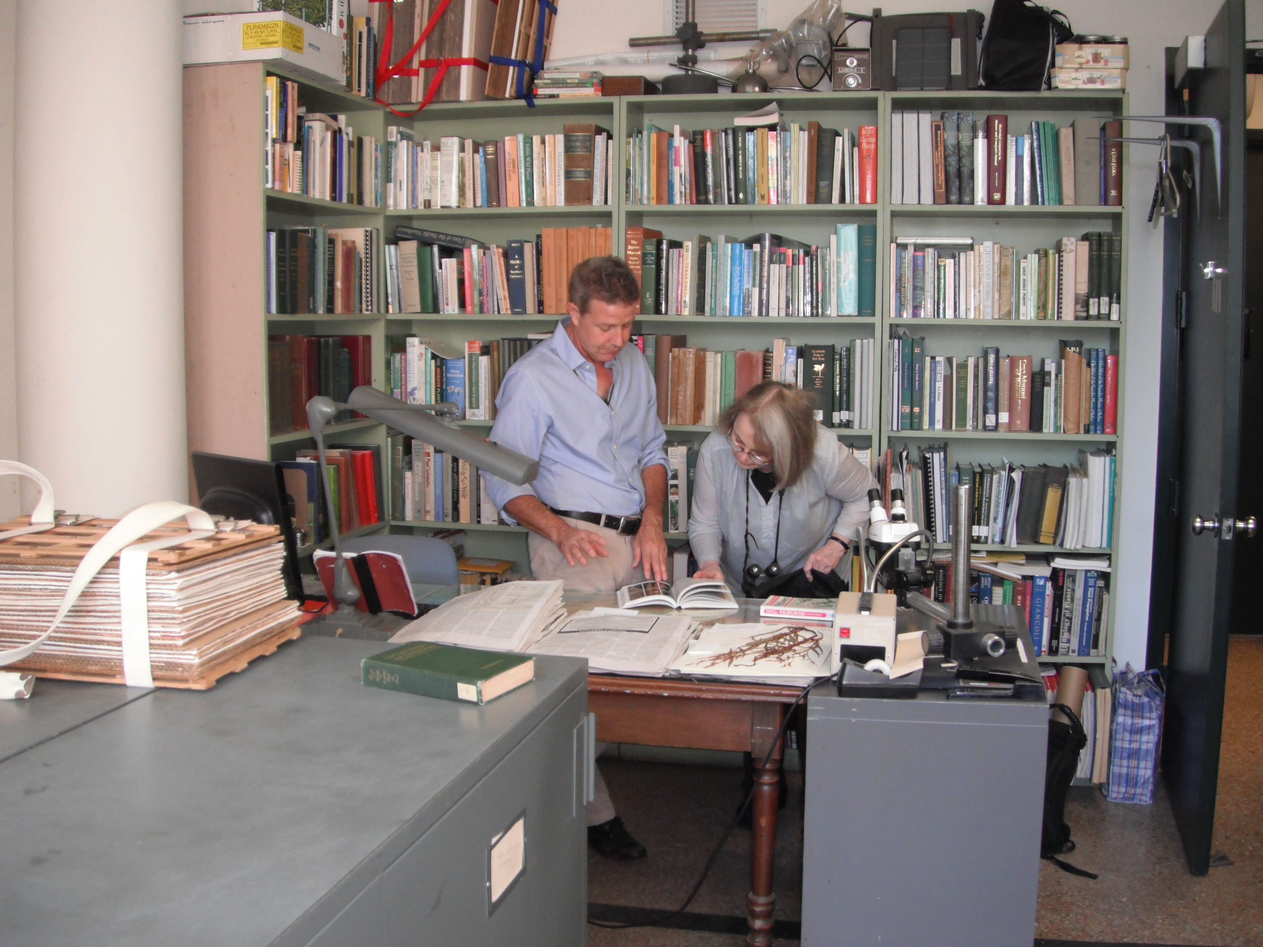 Daniel and Marie in Daniel's office at the New York Botanical Garden