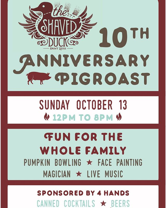 Sunday! Bring the whole fam. #10yearanniversary #pigroast #4handsbrewing #party #towergroveeast #southcity #livemusic #supportlocal