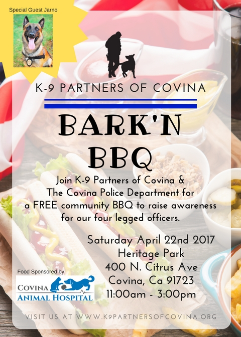 You're invited to join IRES and the Covina Community at the Bark 'N BBQ!  IRES will be hosting a booth where you will have a chance to win a hand-crafted dog house made by one of our talented agents Asa Teran. Family activities planned, including music, booths, police vehicles to explore,Jarno demonstration and much more!Share with your friends, You wont want to miss this event. Come out and join the fun for a great cause!