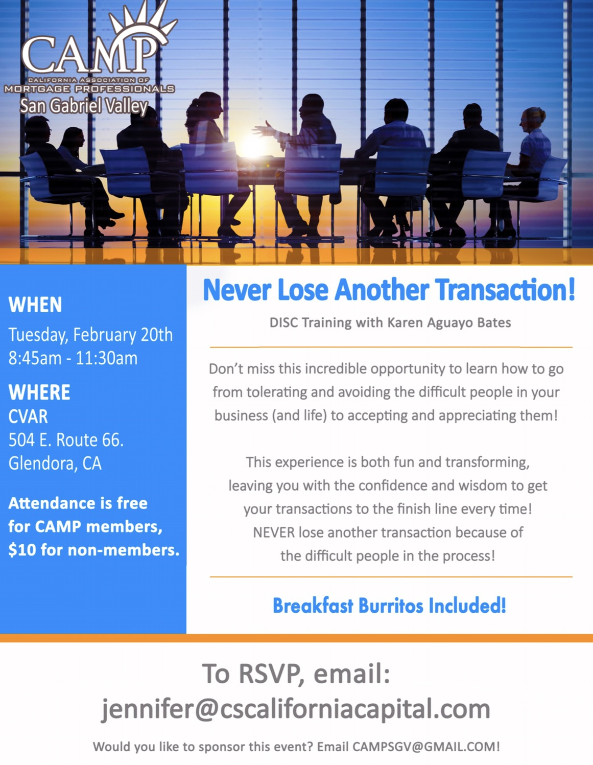Join the Californina Association of Mortgage Professionals for their DISC traning with Karen Bates.
