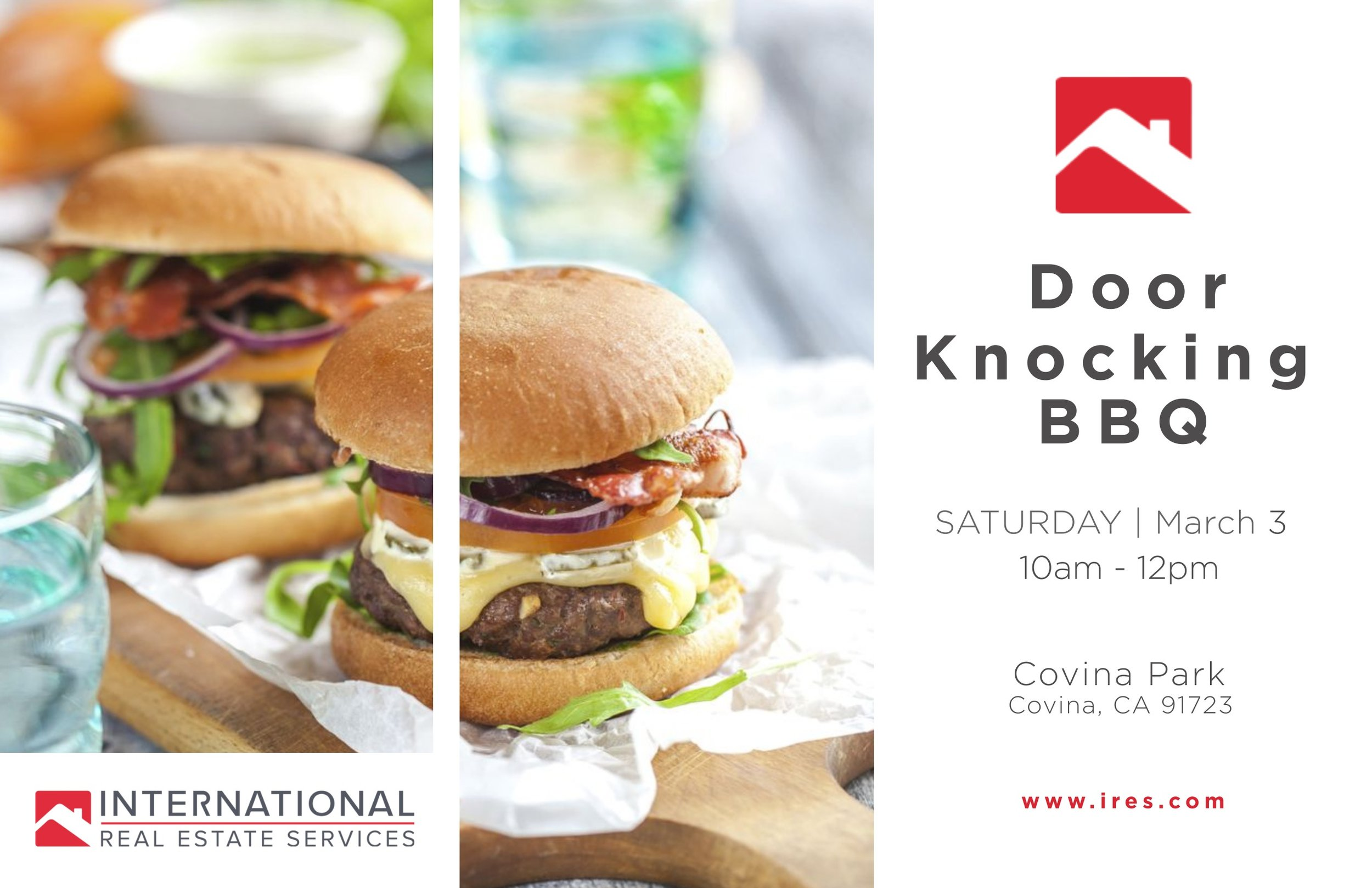 Knock, Knock...Who's There? IRES Agents Door Knocking Blitz! Saturday, March 3, 2018 from 10 am to 11:30 am. BBQ after door knocking blitz at Covina Park!  How is the Real Estate market in your area? Over 15 IRES agents will be out in the area of Puente and Citrus in city of covina to answer any of your real estate questions and give you a market update.