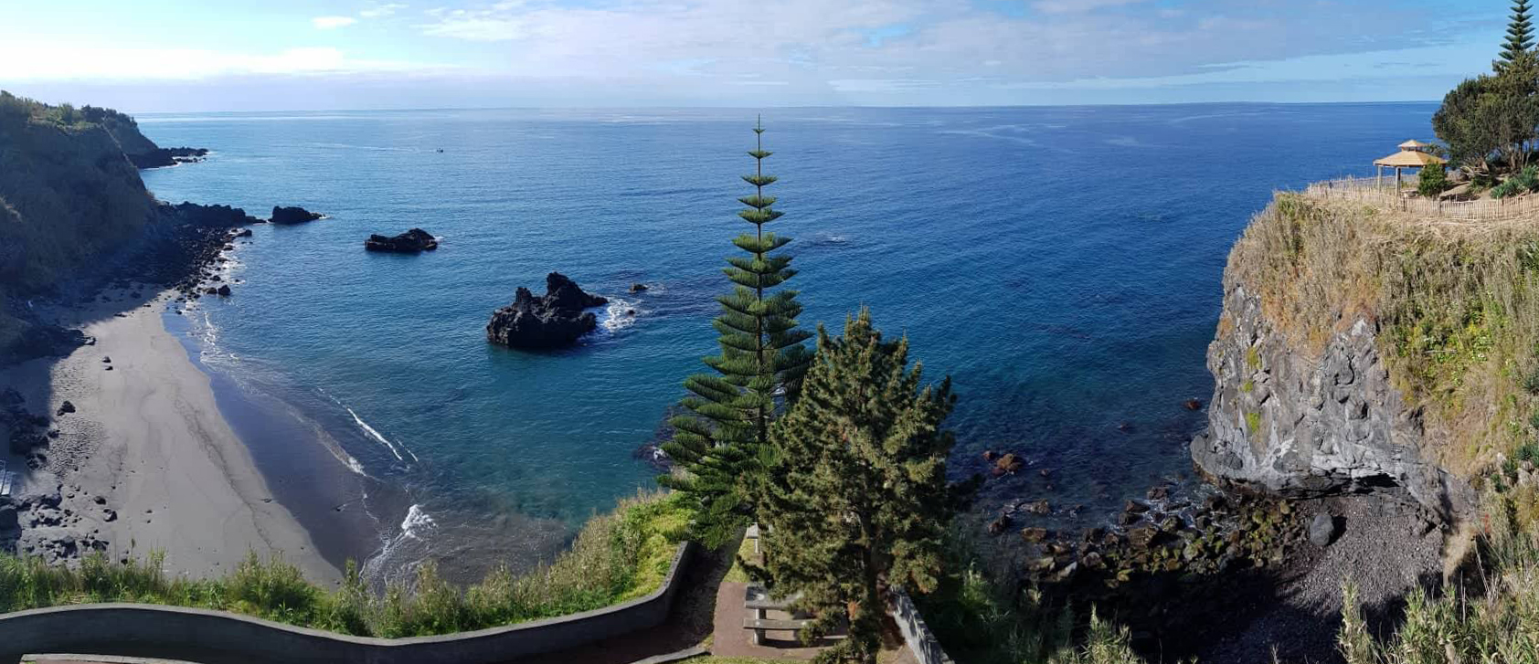 Unspoiled Black Sand Beach and the Gazebo on Quinta Oceania's Private Cliff