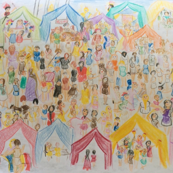 Drawing of a fair from a 6th grade student's medieval history work.