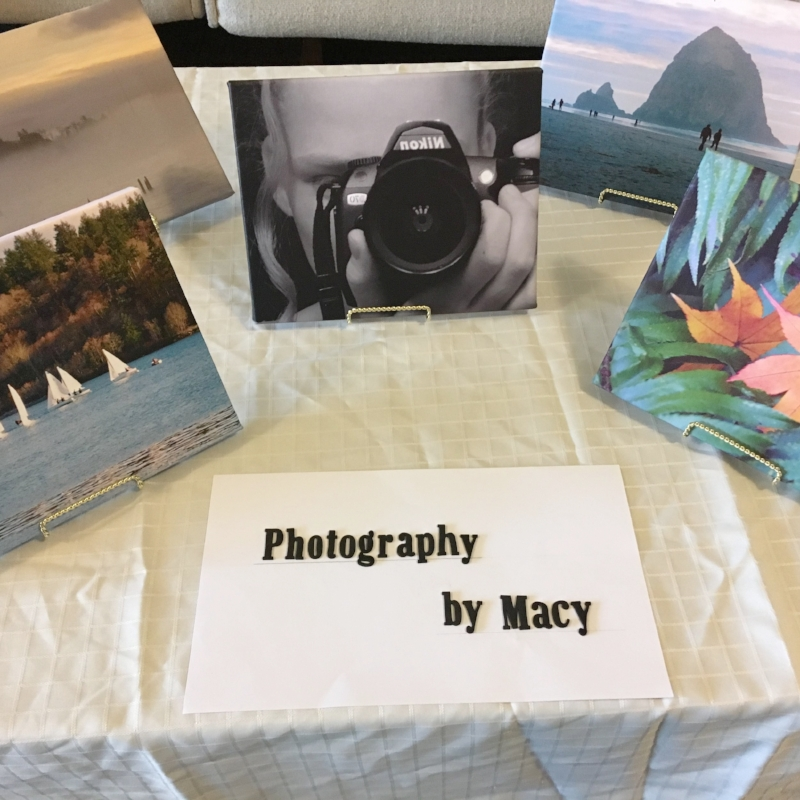 Macy chose to learn digital photography and editing, shifting her focus from sports photography to nature photography when her mentor changed mid-project. Her photos, shown here on canvas, were beautiful!