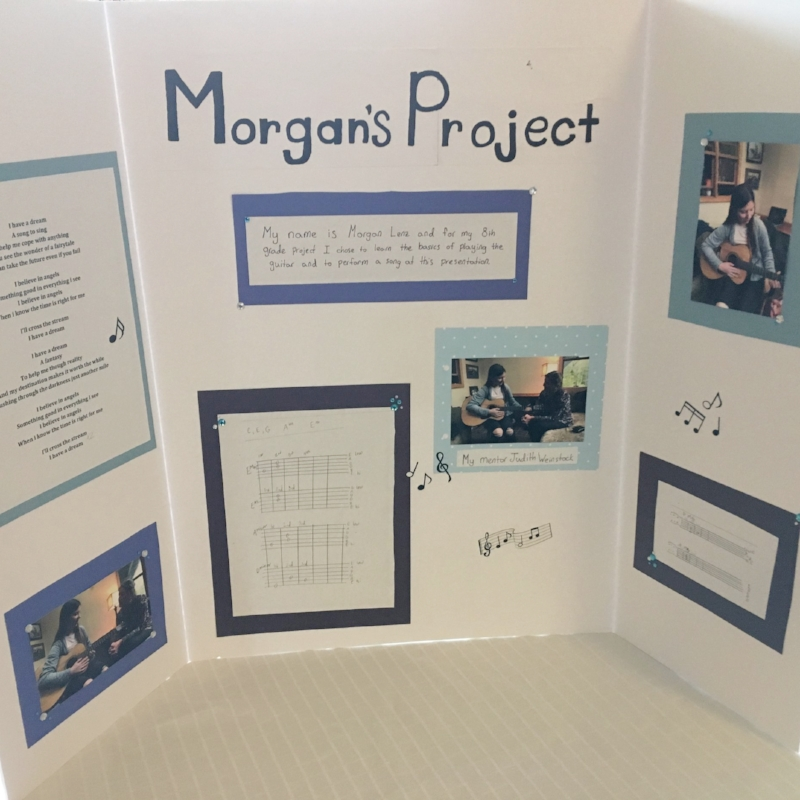 "Morgan, with her love of singing and musical theater, chose to learn the basics of guitar, so that she could accompany herself. For her presentation, she learned the ABBA song, ""I Have a Dream,"" and performed it for us. Wonderful playing and singing!"