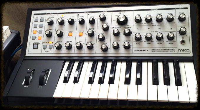 The Moog Sub Phatty, now safely at home.