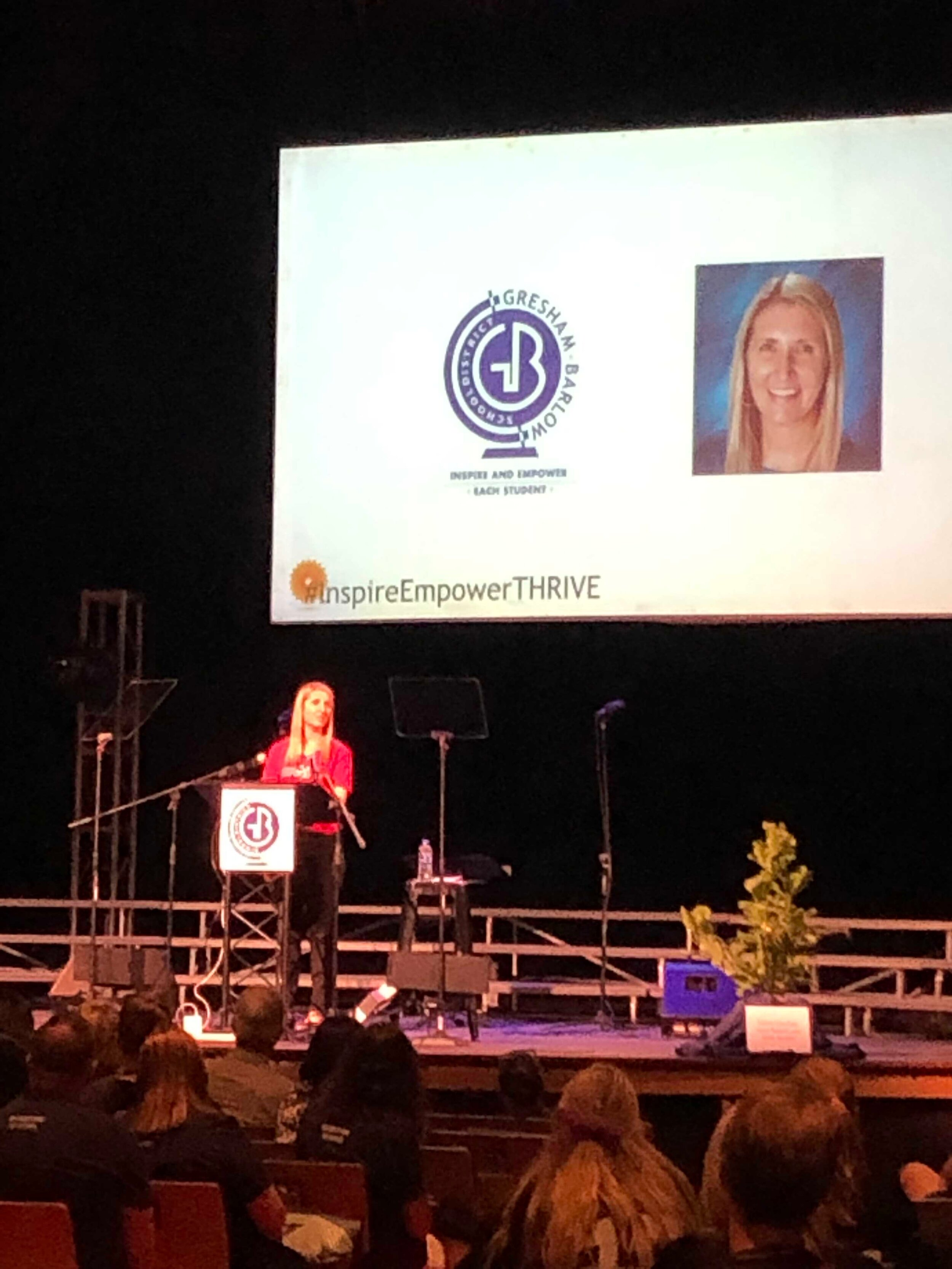 Becky delivers her Teacher of the Year acceptance speech.