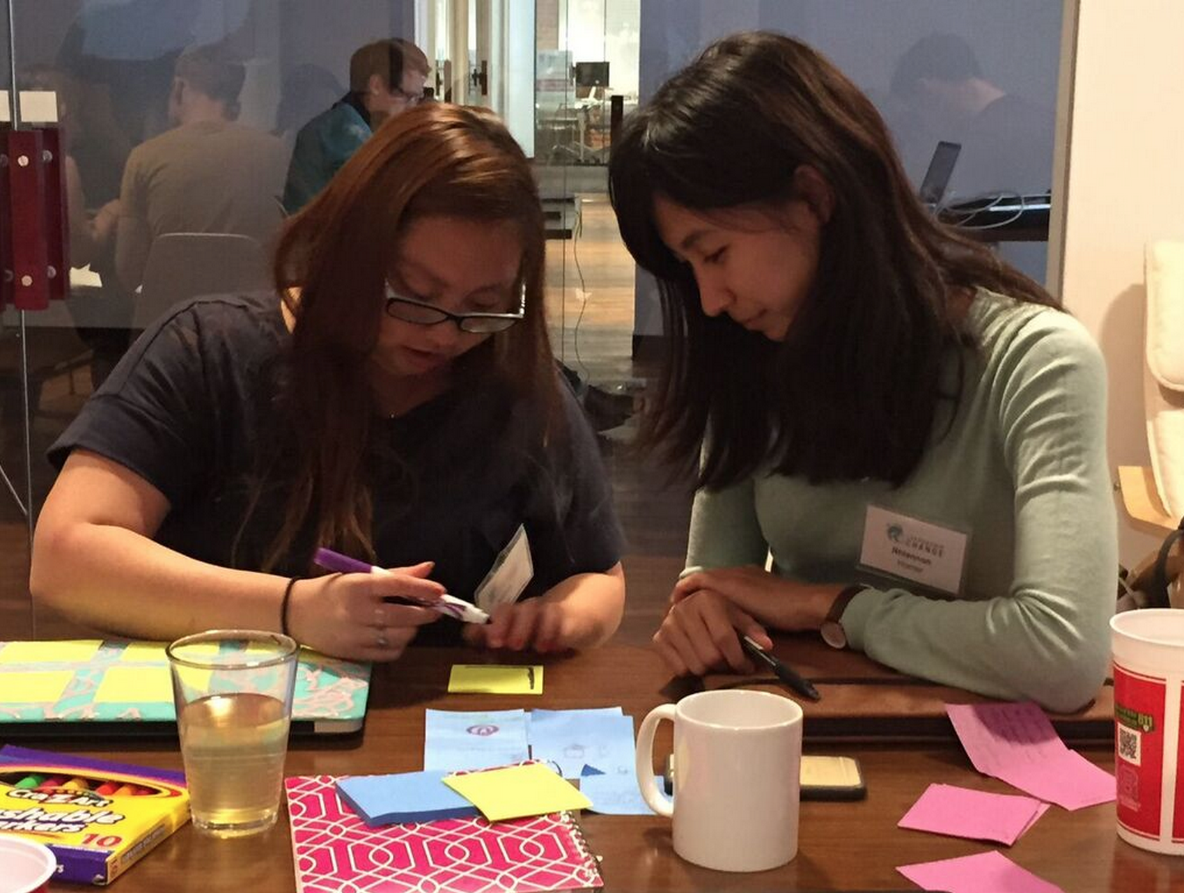 Finance Major, Rhiannon, with her classmate Allison from NYC,explores how to create a Customer Persona.