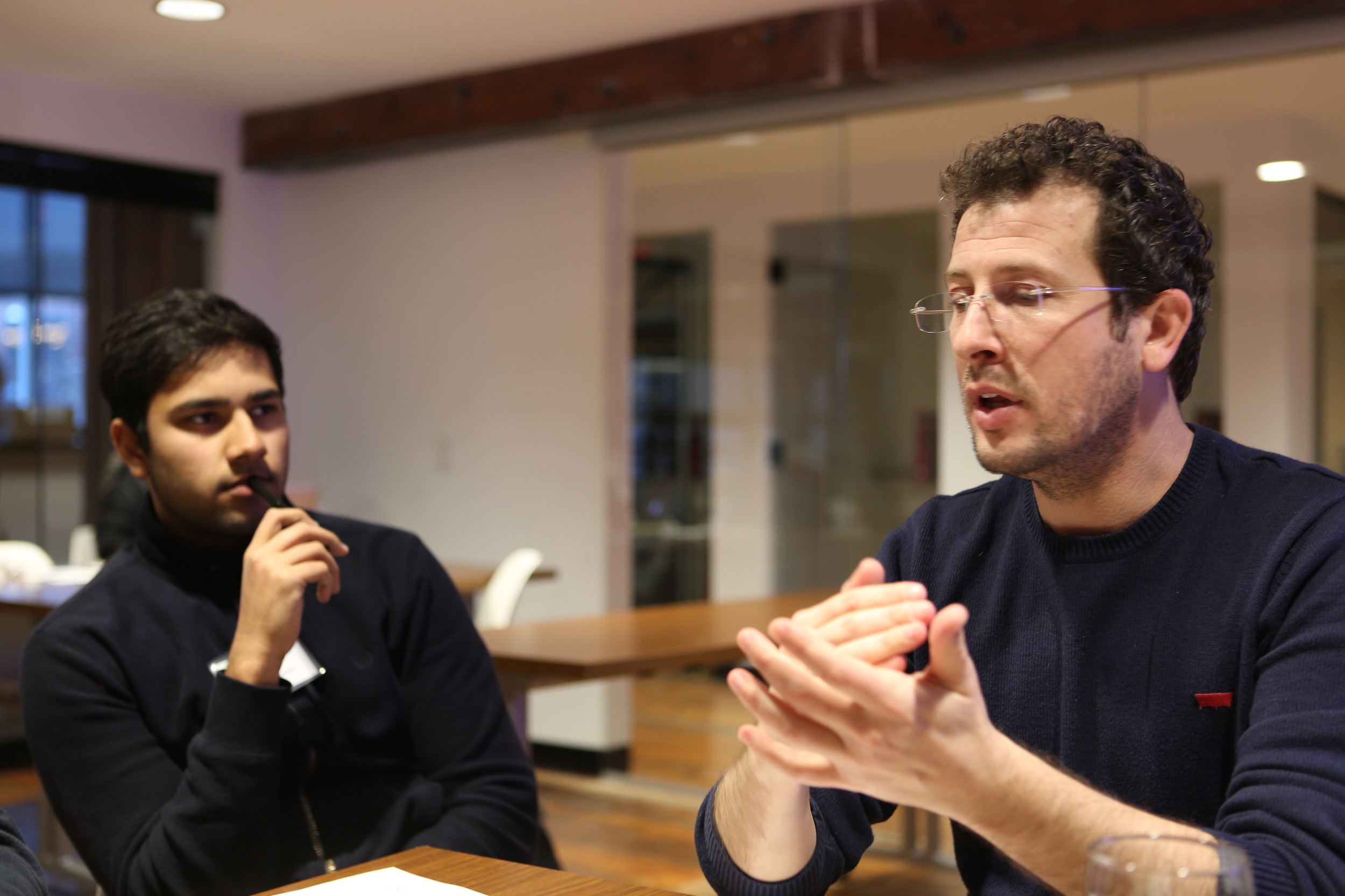 Anupam learns about Design Thinking from our visiting Turkish professor, Engin.