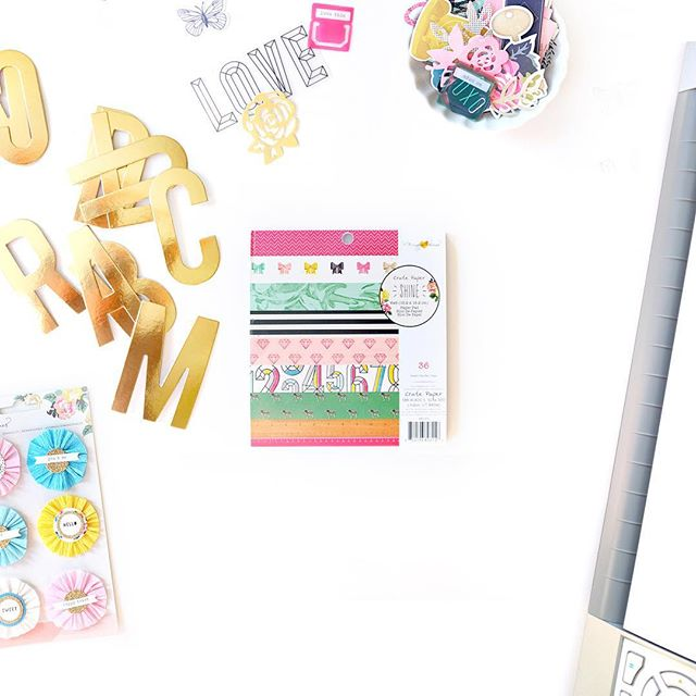 Day 3 l pretty paper  All week there's lots of DIY on the @cratepaper blog I put together a new moodboard using pieces from the super inspiring Shine collection by @maggiehdesign  #100happydays #cratepaper #maggieholmes #americancrafts #onmydesk #papercrafting #scrapbooking #VSCOcam #fuji #x100T #prettypaper
