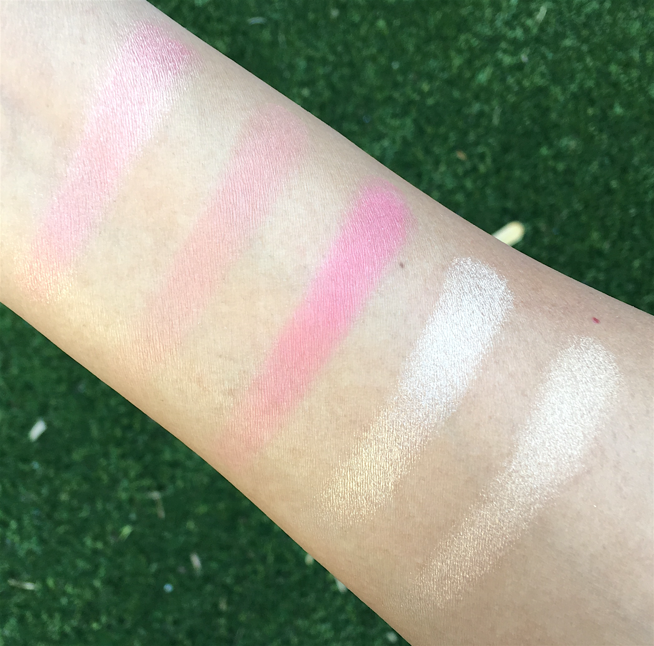 Becca x Jaclyn Hill Face Palette, swatches taken in indirect sunlight