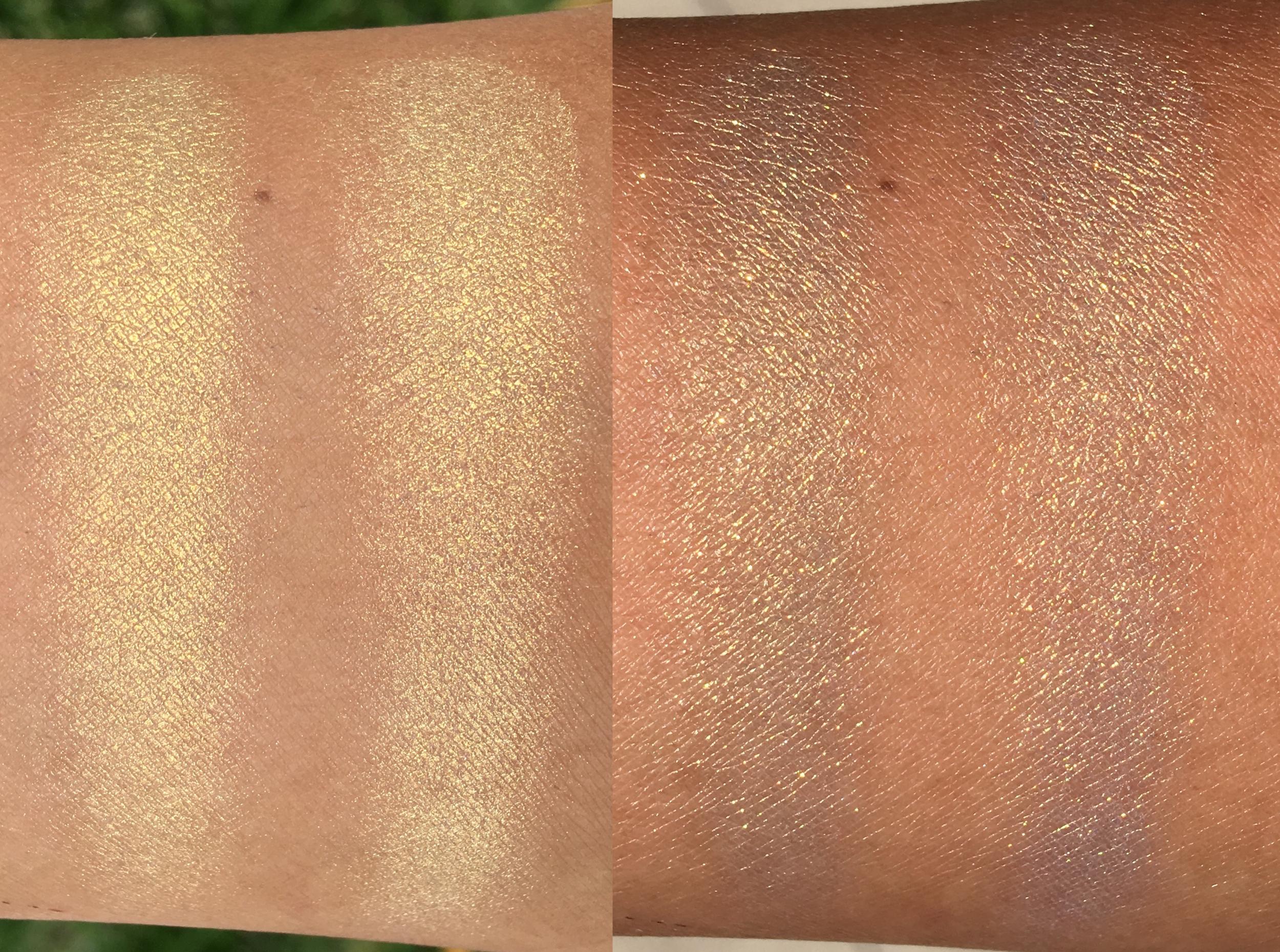 Left: indirect sunlight; Right: direct sunlight