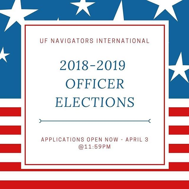 Applications for officer positions for the 2018-2019 year are now open and closes April 3 @11:59pm! Don't miss the opportunity to be more involved with NaviGators and work with over 100 American and international students at UF! We look forward to reviewing everyone's applications and selecting the next group of individuals who will create amazing experiences and memories for international students at the Gator Nation! 🐊🌍❤️