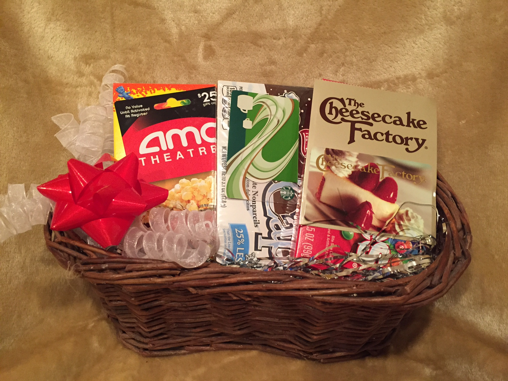 Cheesecake Factory, movies and Starbucks basket