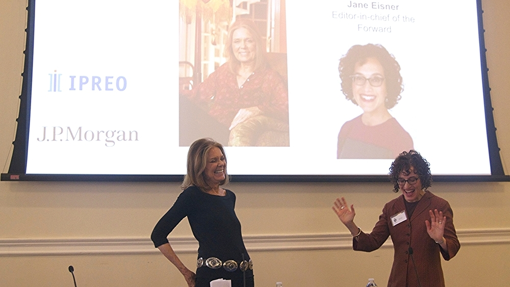 Gloria Steinem and Jane Eisner deliver the keynote Q&A at the Columbia Women's Leadership Conference in April 2014.