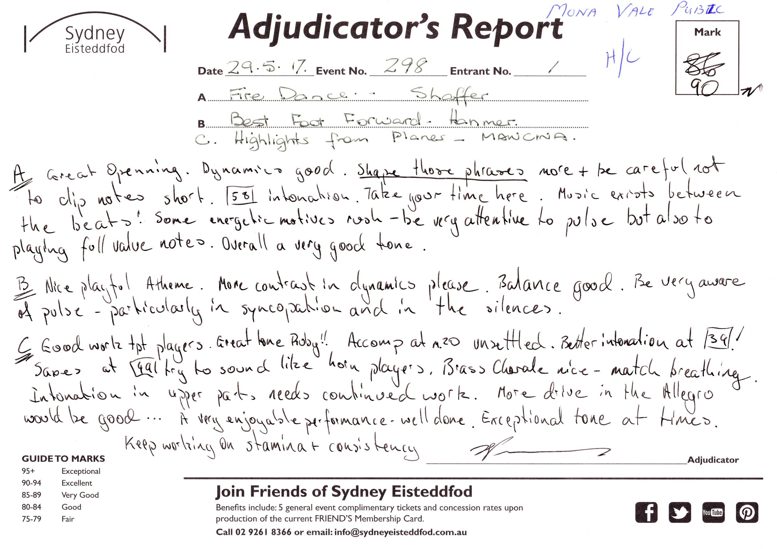 Adjudicator's Report
