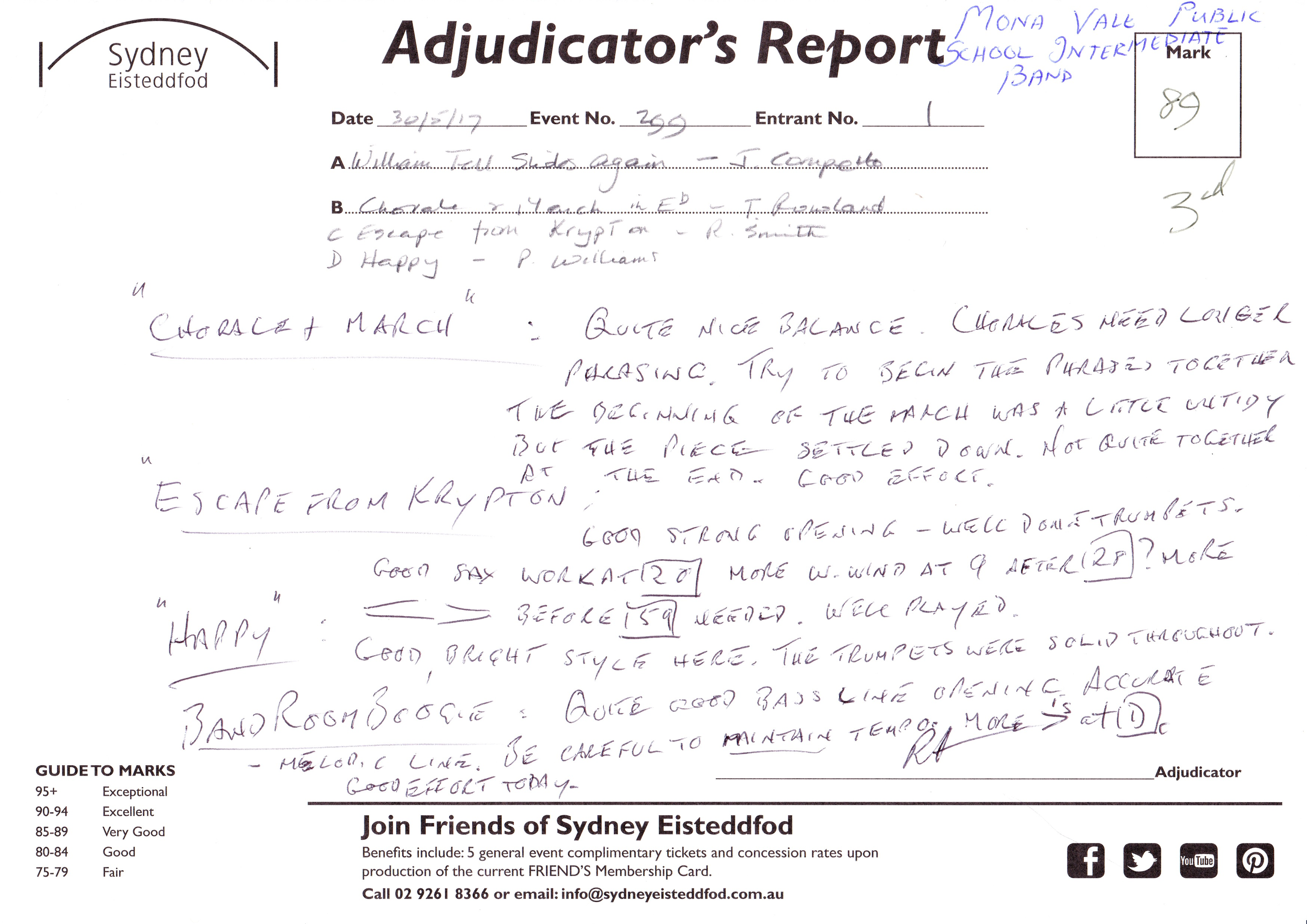 Adjudicator's Report