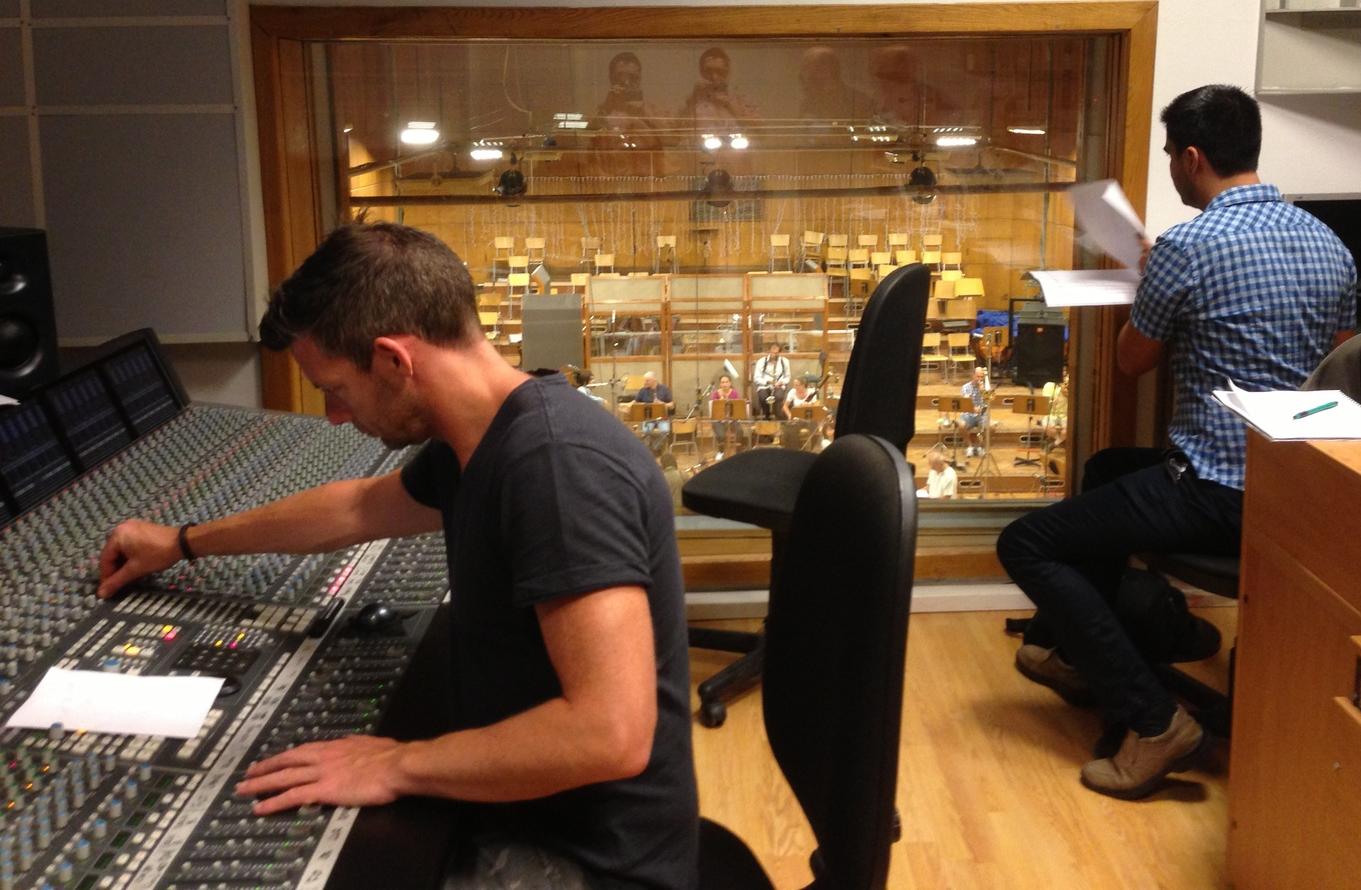 At the recording session of   Guten Tag, Ramón   (Sofia, Bulgaria 2013) Nick Wollage and Rodrigo Flores López.