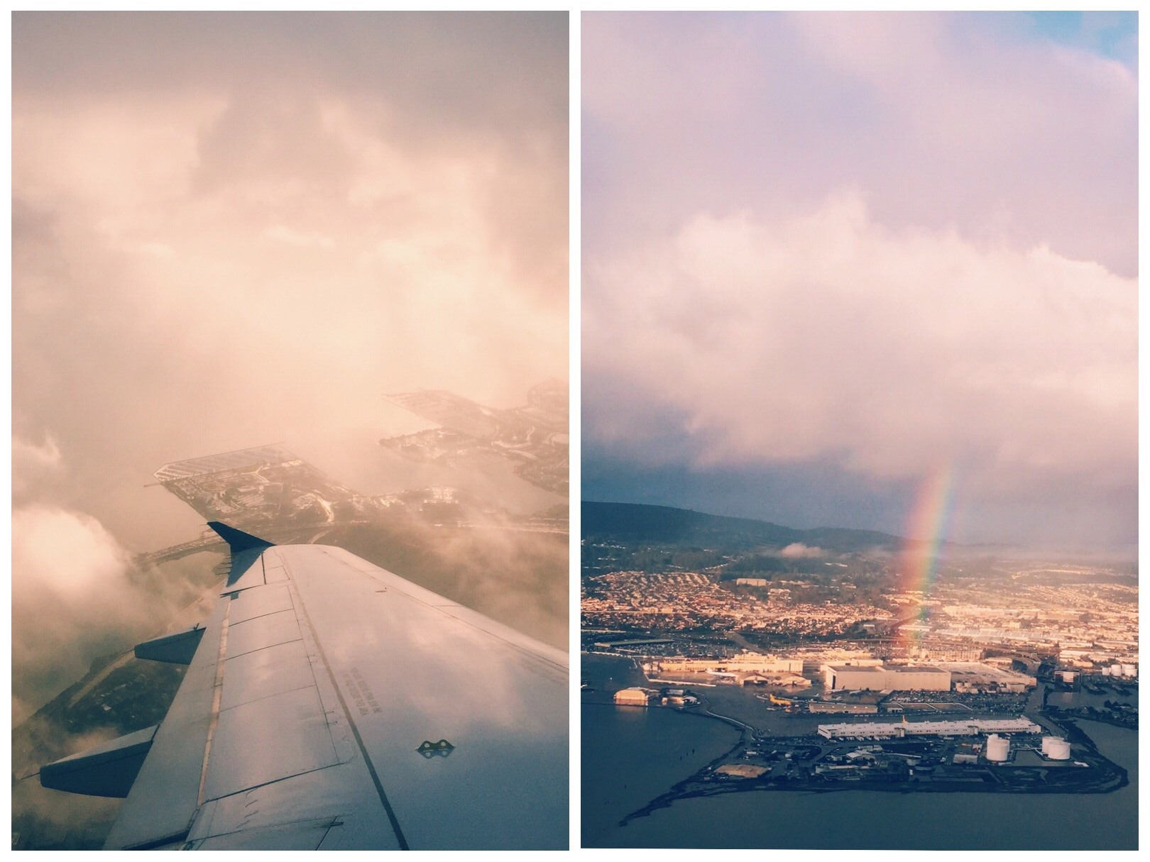 Golden sunrise and rainbows over SFO