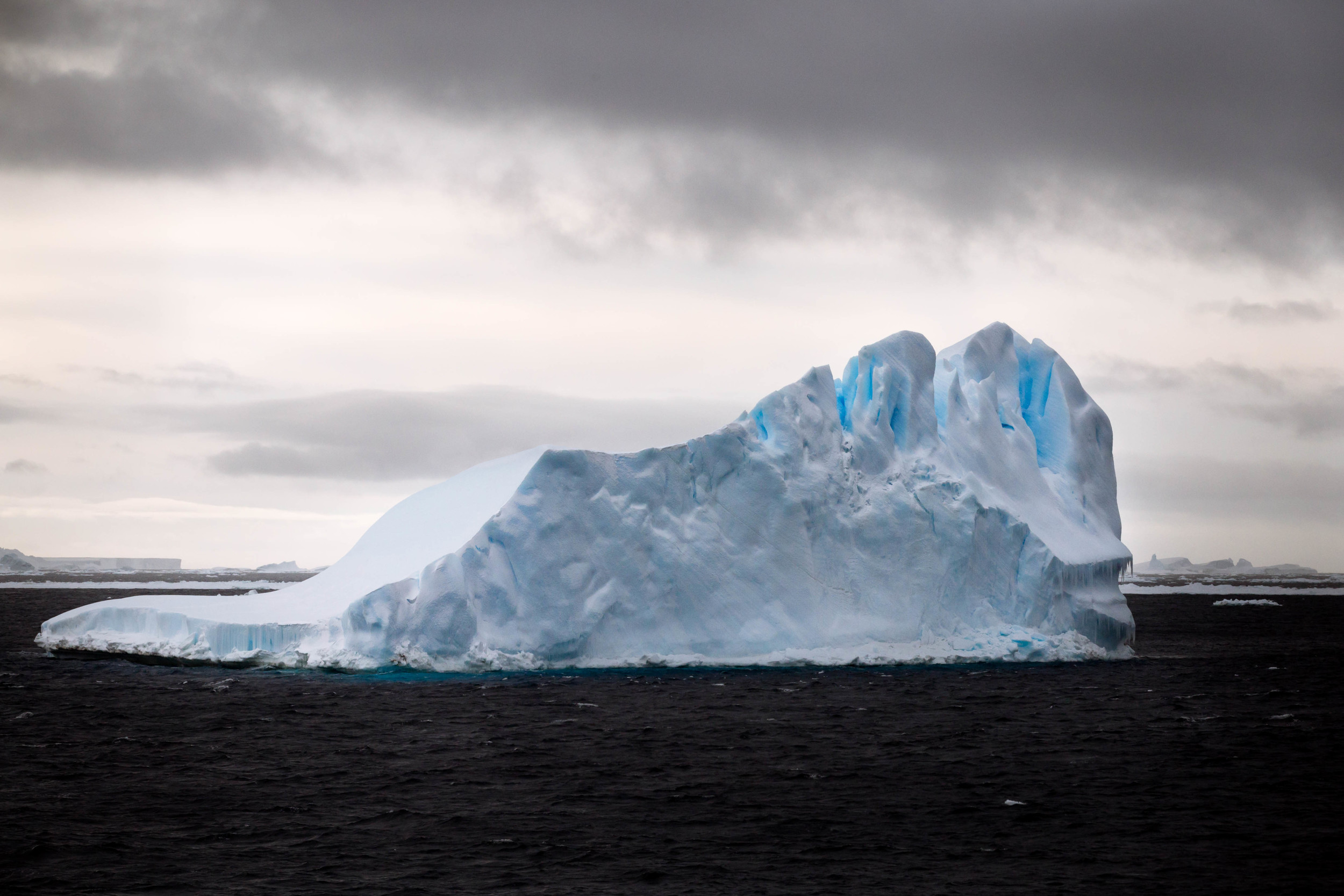 As we approached Antarctica, the icebergs grew larger, revealing their signature blue hues.