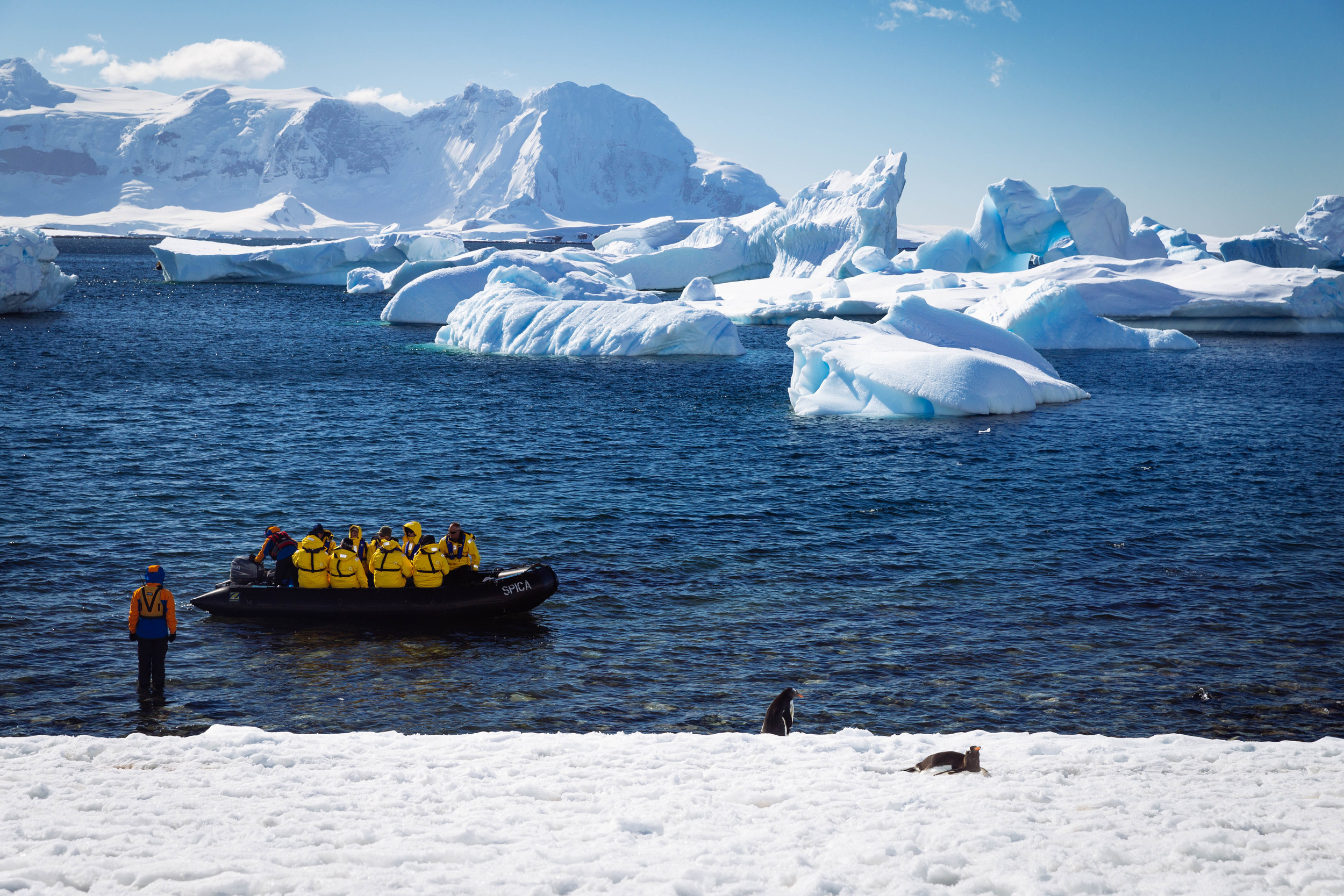 A zodiac cruise takes off to explore the sculptural ice at Cuverville Island.