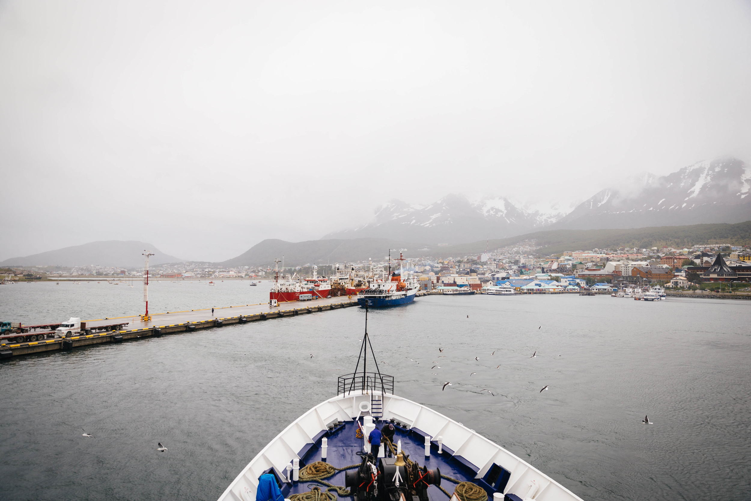 The M/V Sea Adventurer leaving the port of Ushuaia behind, heading south to Antarctica.