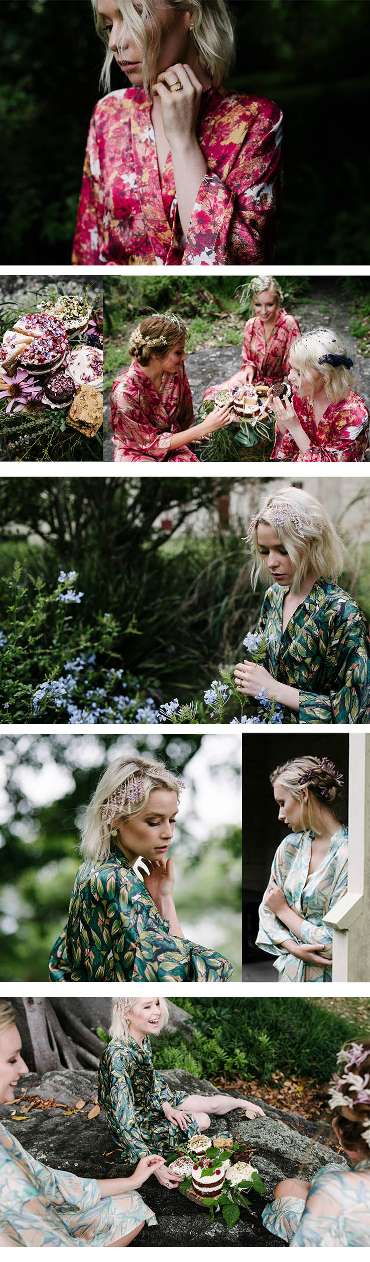 You can see the bride and her bridesmaids full journey at  https://whitemag.com/inspiration/black-forest/   Credits   Photographer    Damien Milan    Jewellery    Courtesy of the Artist        Florals    Sophia Kaplan        Stylist    Anastasia Gladushchenko,     Hair + Make-up    Renae Michel     Cake    Wild Flour Sydney