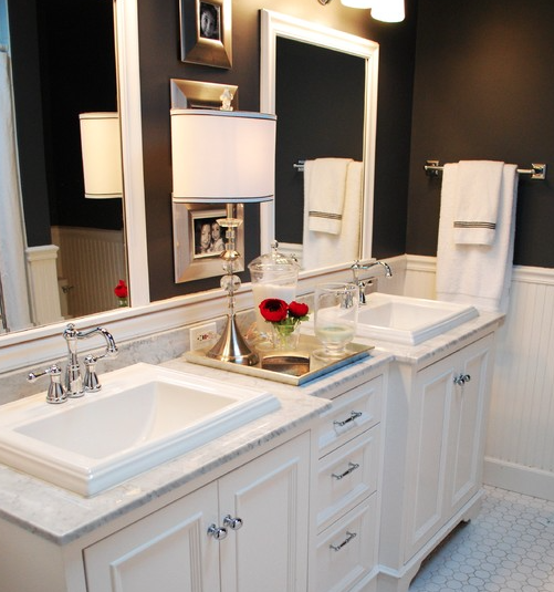 White bathroom with dark walls