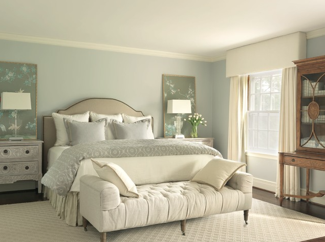 Master bedroom soft color pallet