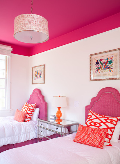 Pink and orange bedroom with painted ceiling