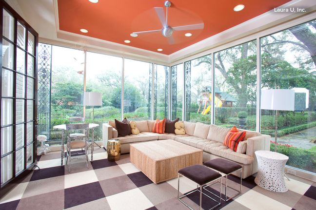 Family room with orange ceiling