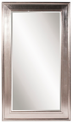 "SILVER FLOOR MIRROR  $400  Bright silver leaf finish  Mirror surface measures 35"" L x 71"" W  Measures 49"" L x 85"" W x 3"" D overall"