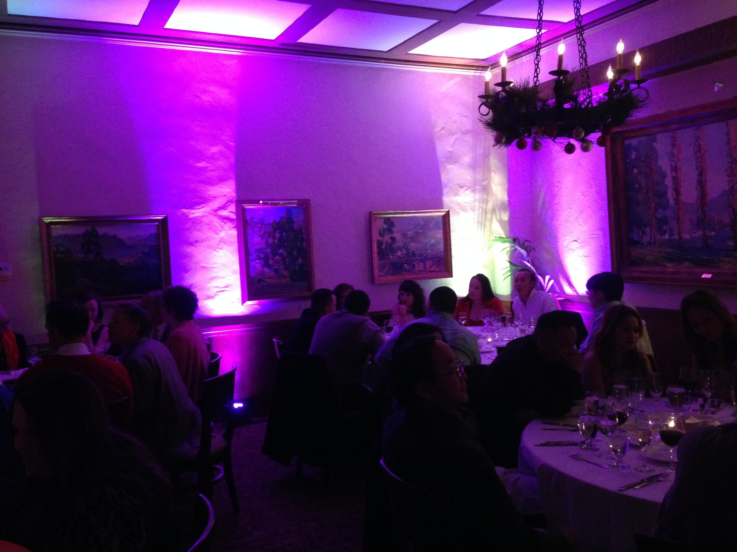 Santa Barbara Wedding DJs Event Lighting : Full lighting design house, uplighting, uplights, professional lighting