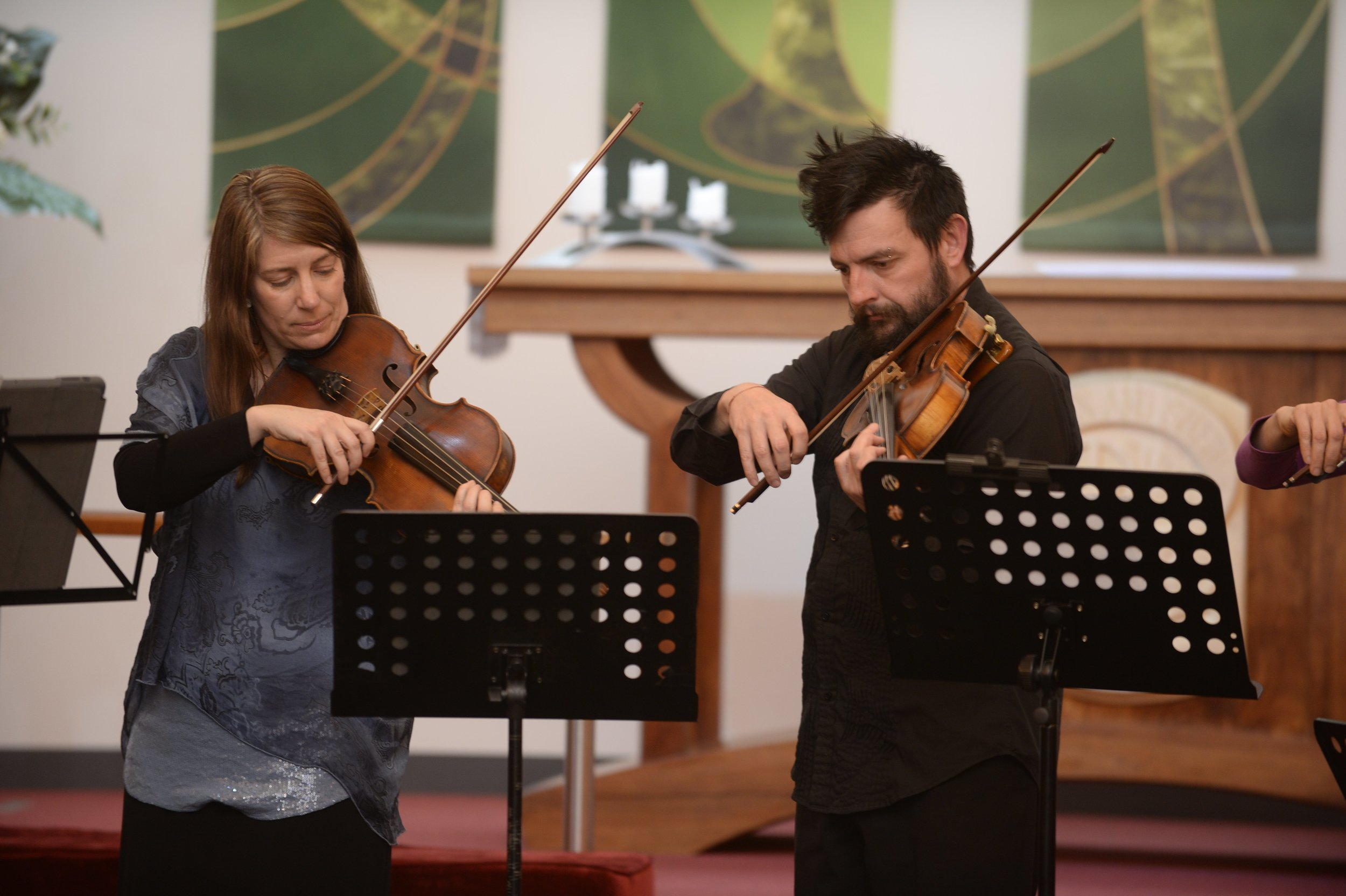 Helen and Chris Moore (guest viola) in Shepparton for JNQP mentoring and performance