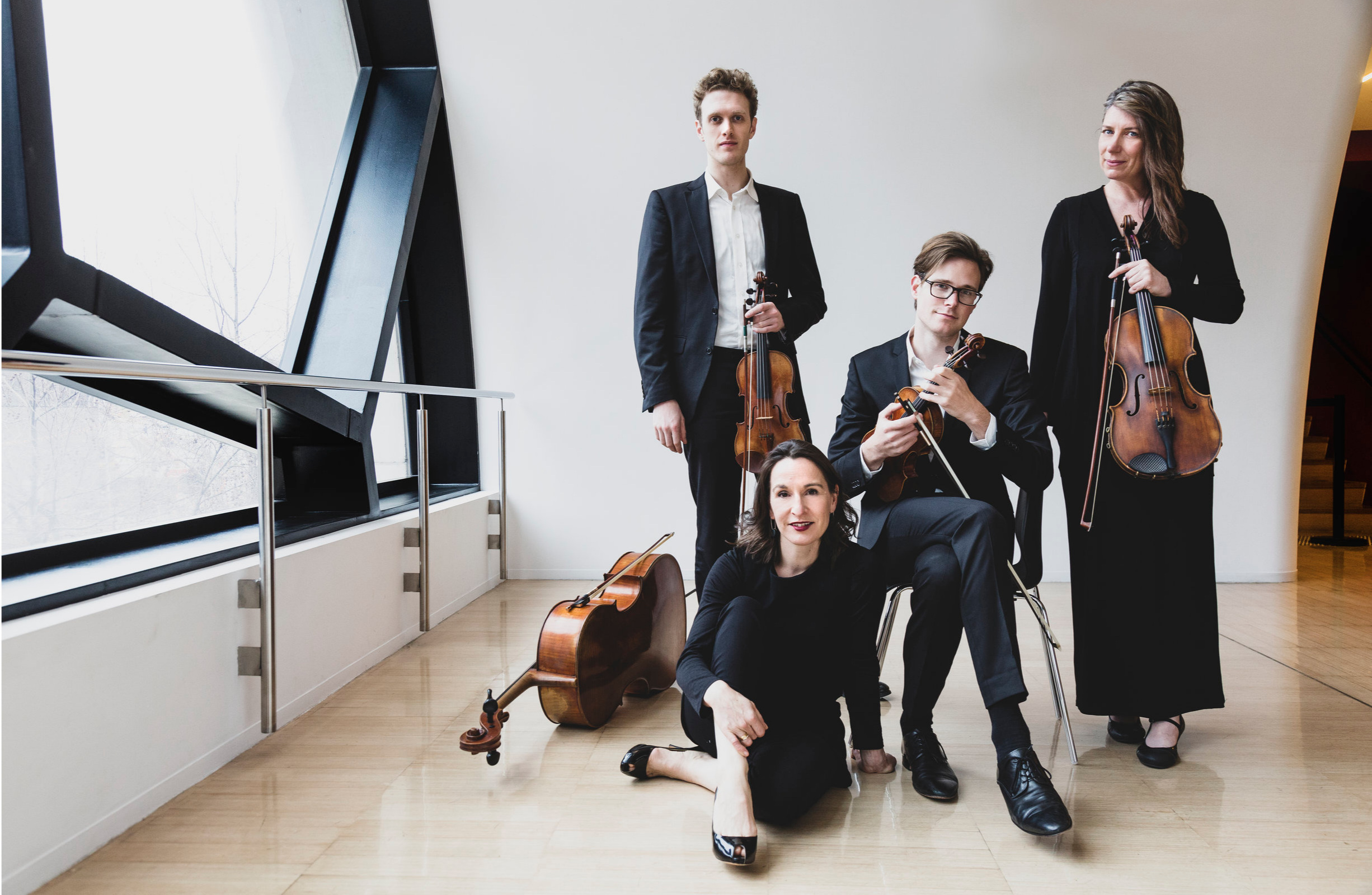 Nicholas Waters (violin), Zoe Knighton (cello), Thibaud Pavlovic-Hobba (violin), Helen Ireland (viola)  Photo credit:  Pia Johnson