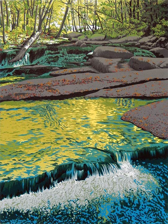 """Stickneybrook"" 9-color reduction linocut print, 12"" x 9"""
