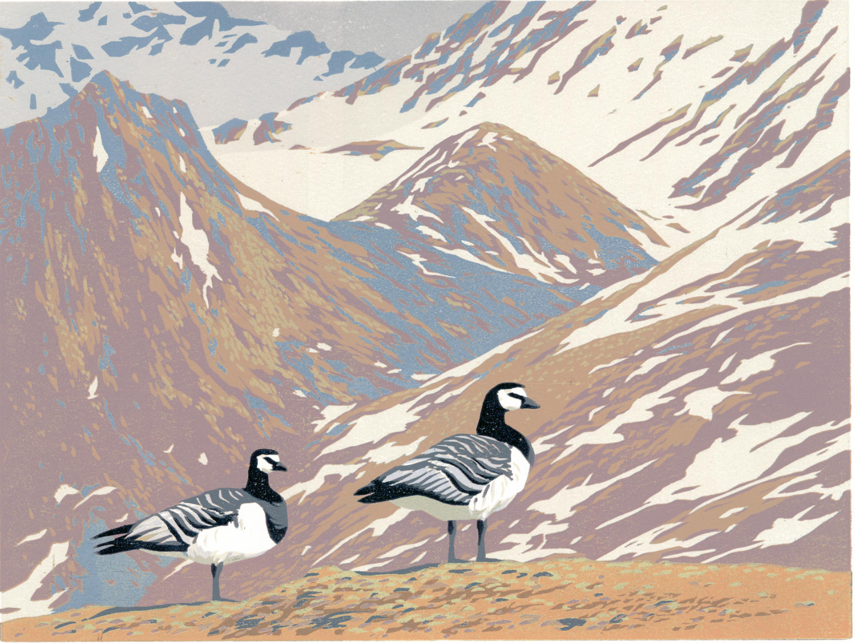 """Svalbard geese"" woodcut 13 colors"