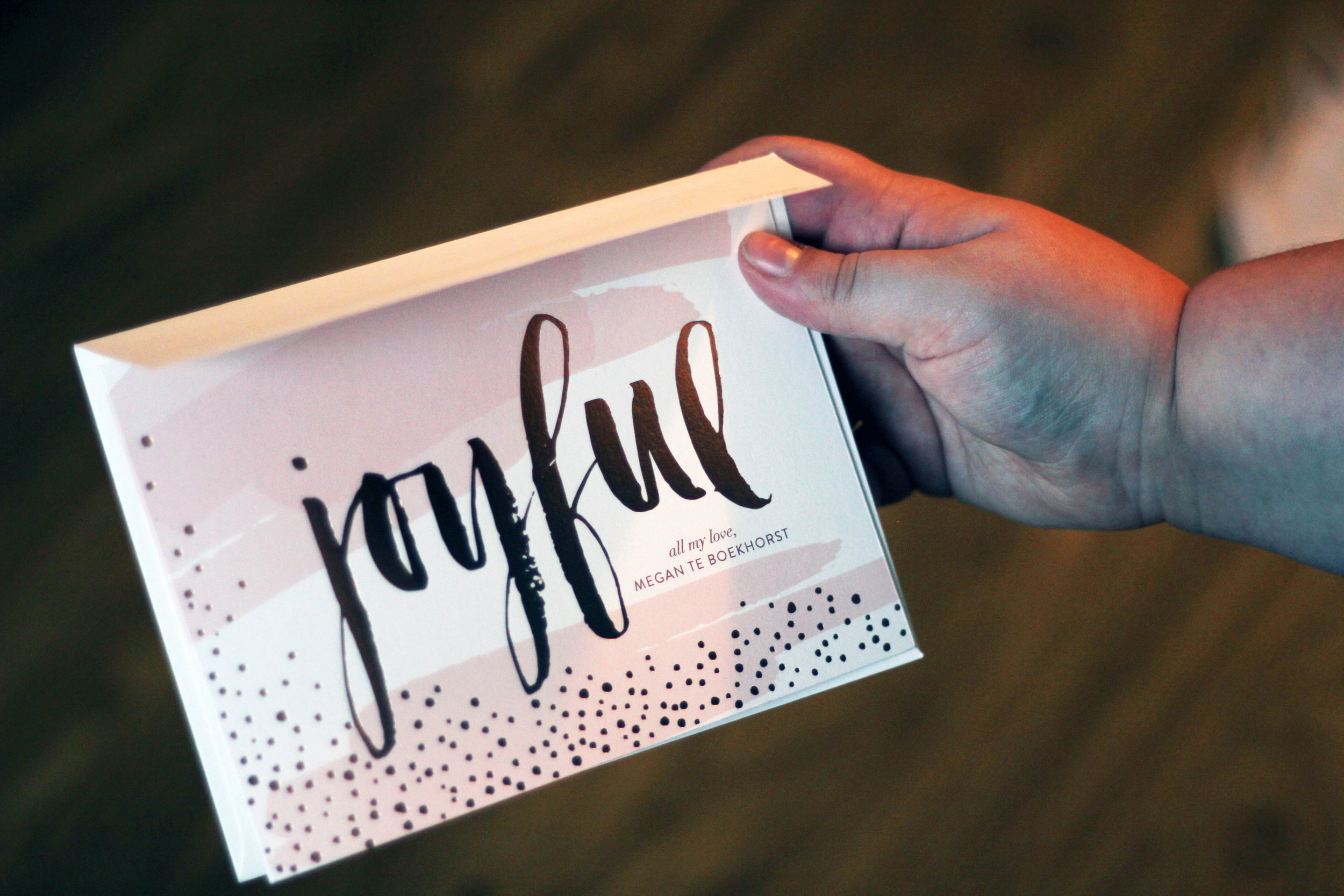 rose gold foil holiday card