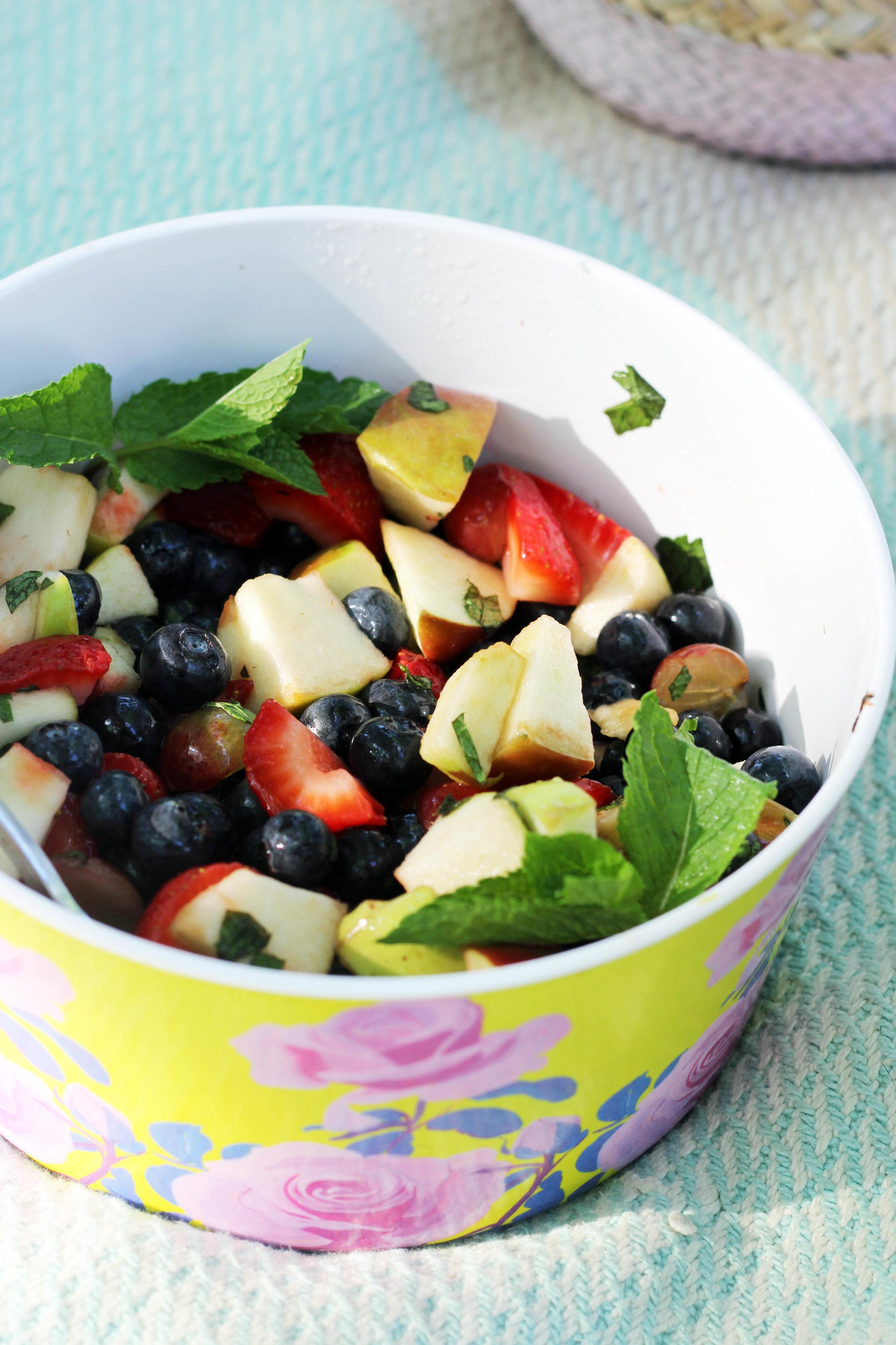 boozy mint fruit salad