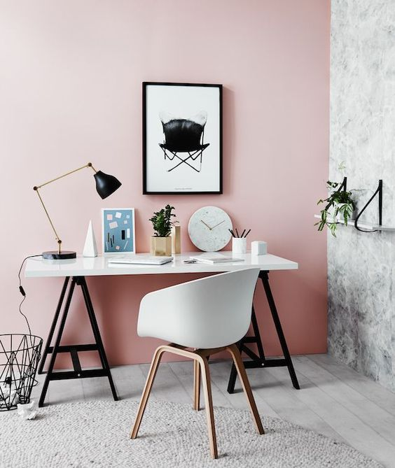 I would NEVER have thought I would consider painting a wall in my house pink but this blush wall looks amazing. I think it would add a really fresh and clean feel to the office area.