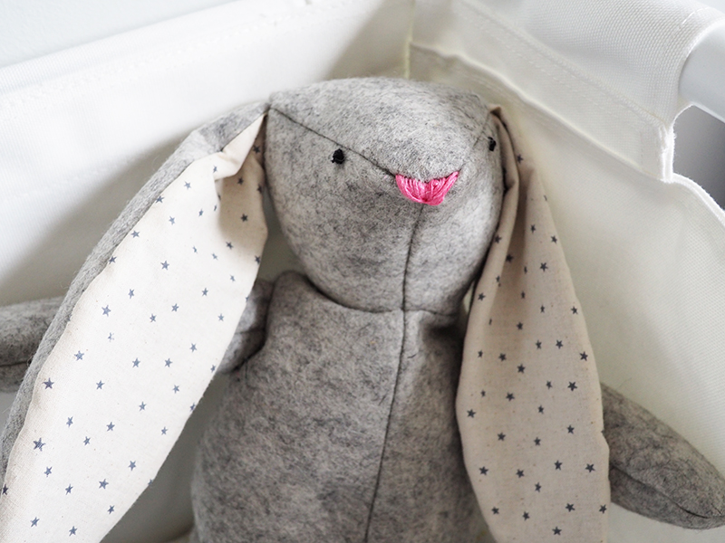 I recently started sewing more and attempted to make this bunny rabbit. You can find the pattern I used here on  Purl Soho  (amazing website!). It is pretty wonky and badly made but am hoping that adds to its charm and that the little guy will like it. I made  another one  for my Godson too. I really enjoyed making them and would like to experiment with making more toys.