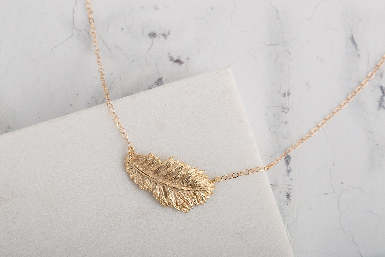 Claire Hill Designs - Feather Gold Charm Necklace